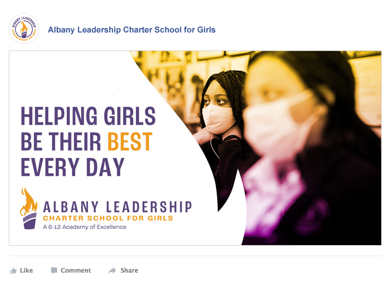 Facebook ad showing students in class with the caption: Helping Girls Be Their Best Every Day