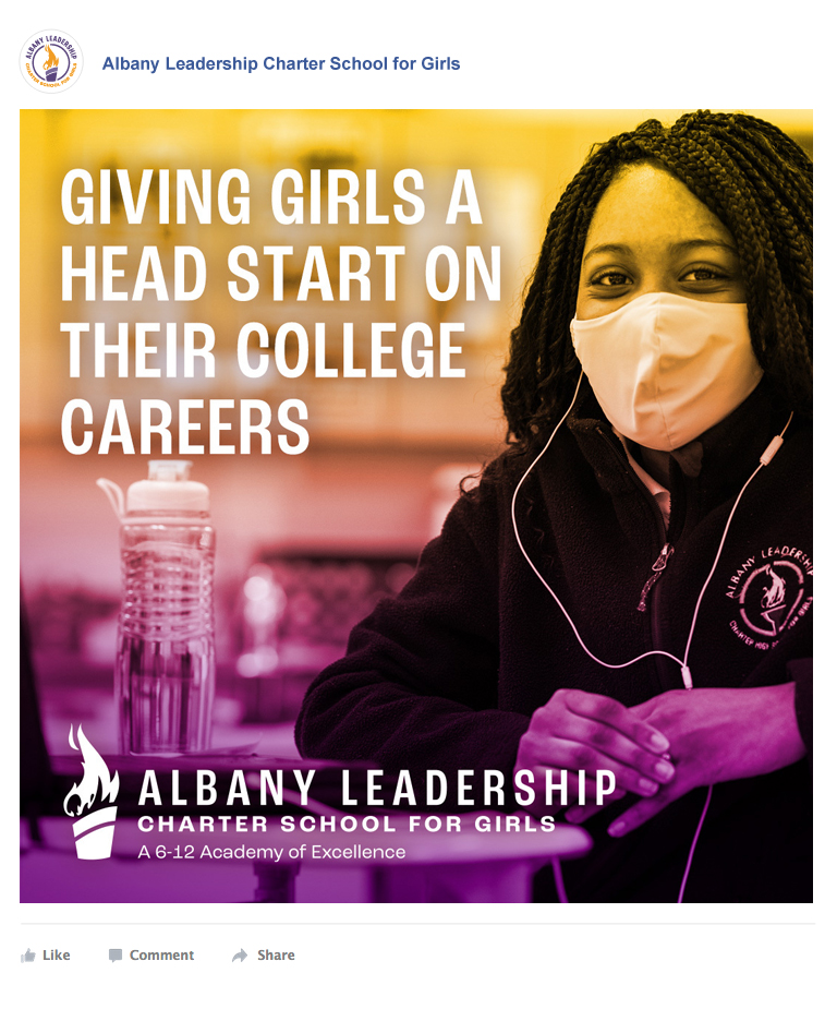 Facebook ad showing a student in class with the caption: Giving Girls a Head Start on Their College Careers
