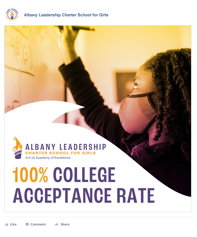 Facebook ad showing a student at the smartboard with the caption: 100% College Acceptance Rate