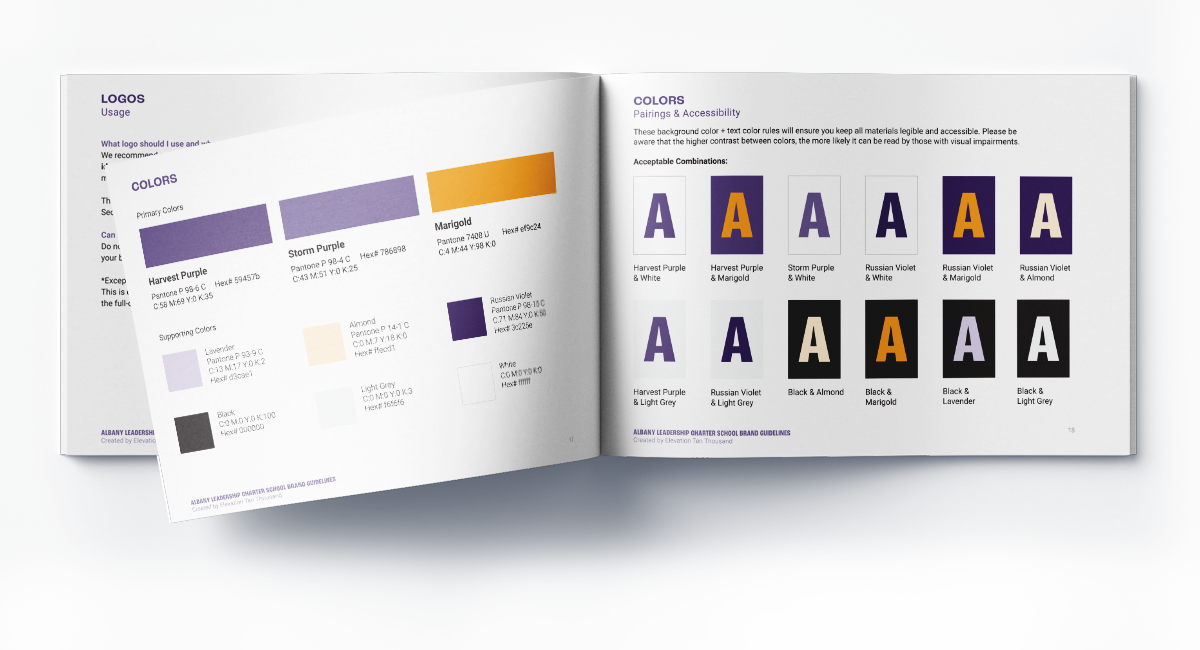 Brand Guidelines showing the brand colors and which colors to pair for greatest legibility and accessibility