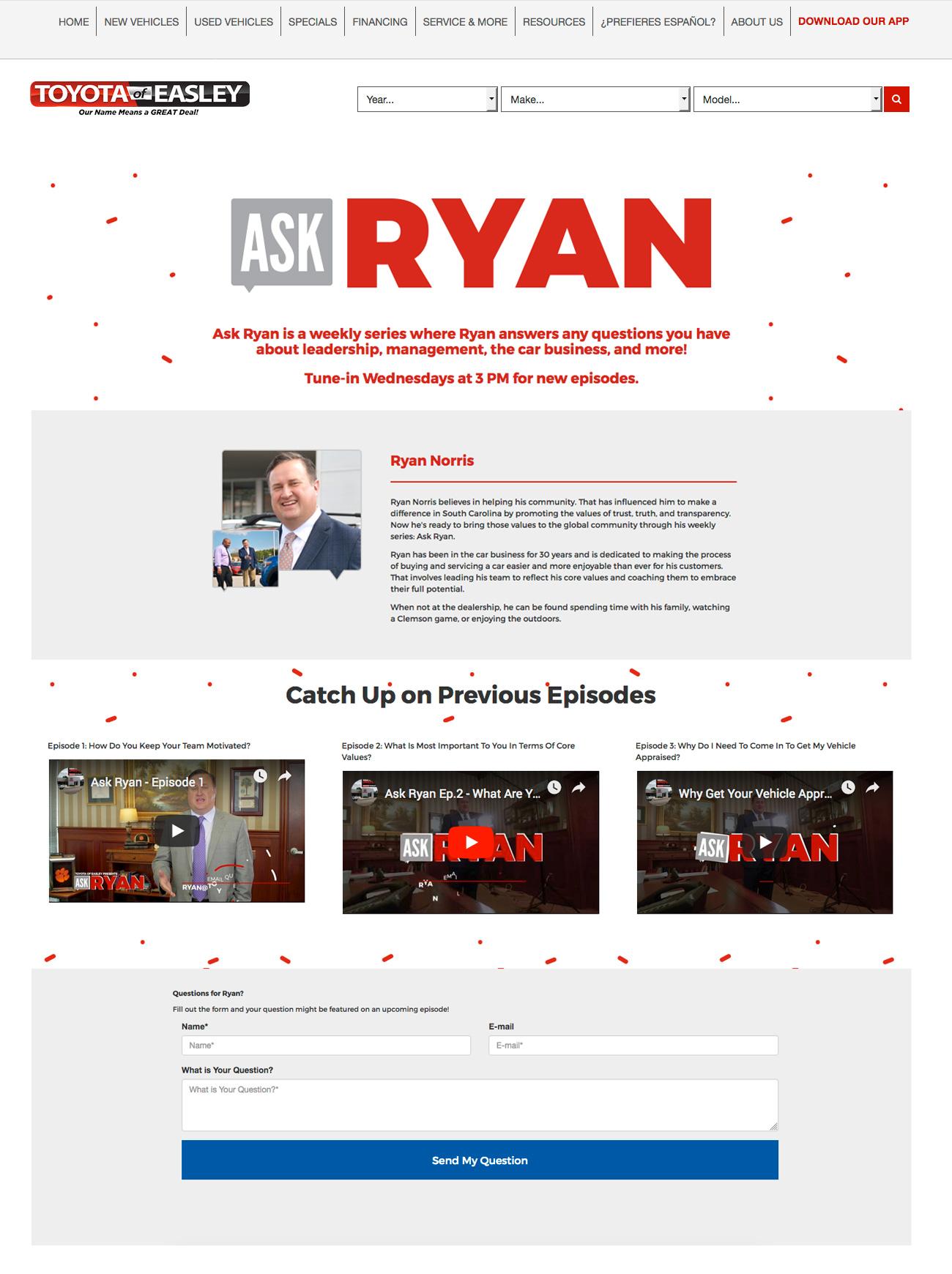 Ask Ryan Landing Page