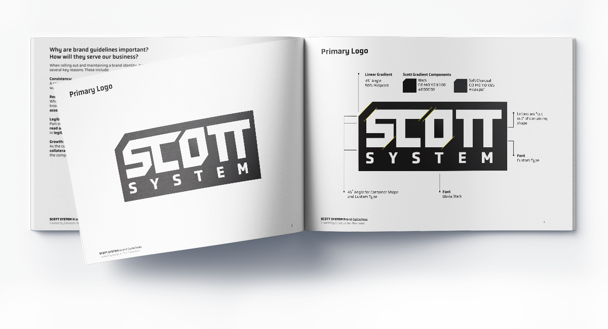 Brand Guidelines dissecting the composition, color, and fonts in the Scott logo